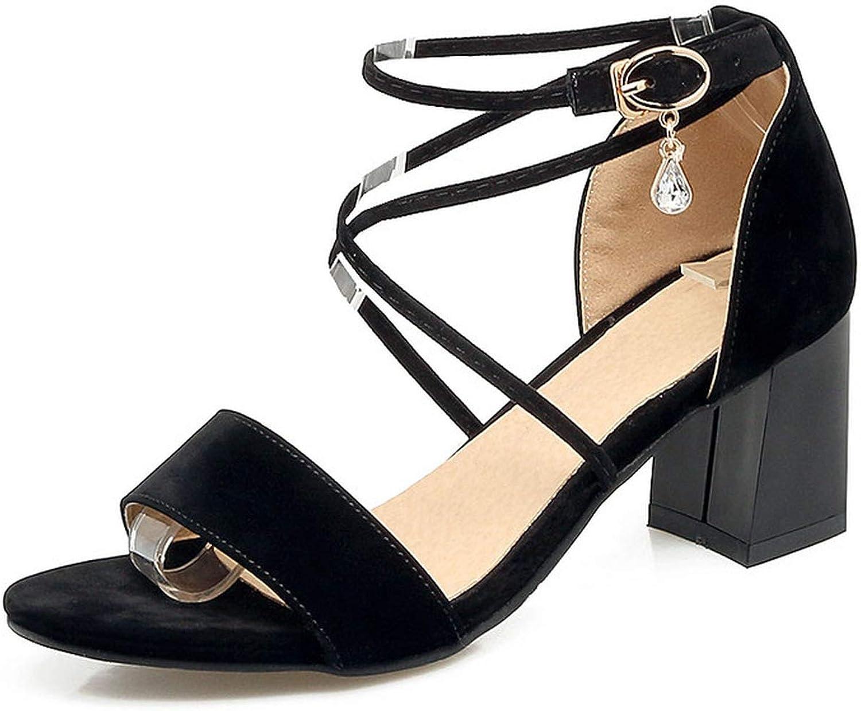 Charismatic-Vibrators Women Sandals Fashion Flock shoes Suqare High Heel Peep Toe Buckle Casual Solid Women shoes