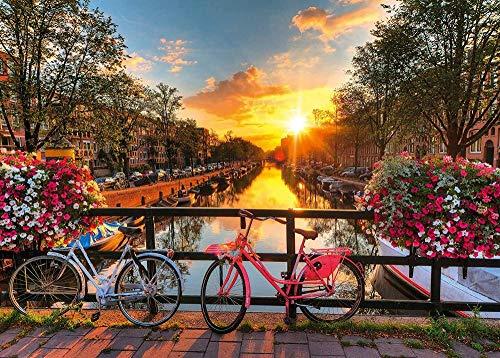 ajhsuwn Niños Adultos Rompecabezas de Madera Bicicletas en Amsterdam 1000Pc Rompecabezas Niño y niña Regalos de cumpleaños DIY Rompecabezas Creativo