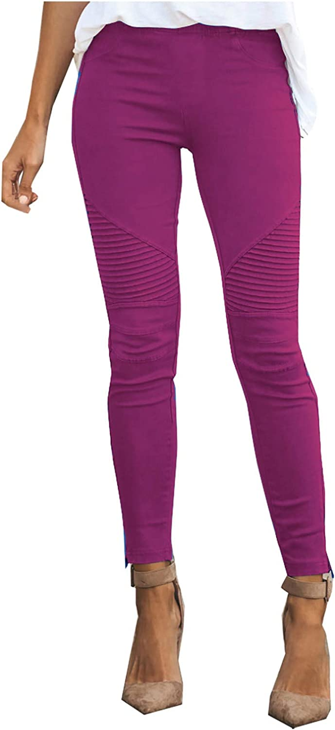 G/N Fashionable Ladies Elastic Tight-Fitting Slim-Fit Solid Color Casual Trousers with Pockets
