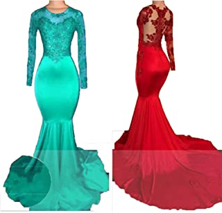 628aeb4b0b HofnDolce Lace Applique Prom Dresses Long Sleeve Beads Mermaid Evening Gowns
