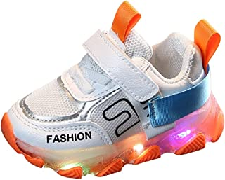 Cocity Toddlers Infants Colorful Flashing LED Light Up Sports Sneakers Shoes, Fashion Unisex Baby Boys Girls Breathable Air Mesh Non Slip Casual Sneakers Shoes Fitts for Kids Aged 15Months-6Years