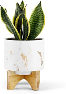 Greenaholics Medium Plant Pot - 5.5 Inch Cylinder White Marble Ceramic Planter with Arched Bamboo Stand, for Small Herb, Snake Plant Seedling