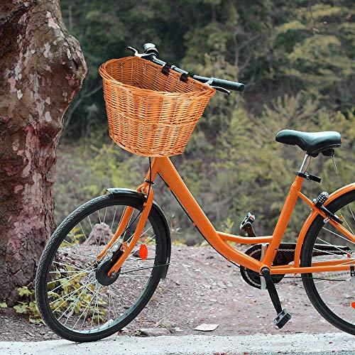 ACECITY Wicker D-Shaped Bike Basket, Portable Hand-Woven Shopping Basket Folk Craftsmanship Bicycle Handlebar Storage Basket with Leather Straps (S for Kids Bike)