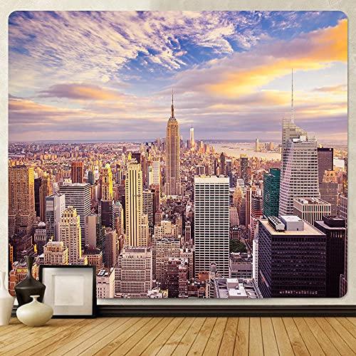 SHININGCN Tapiz Pared Decoración Tapiz Artístico De Tela De Fondo De La Ciudad De Nueva York Decoración del Hogar Tapiz Bohemio Hippie Sábana De Gran Tamaño Manta De Sofá Dormitorio Decoracion