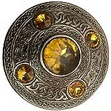 House of Highland 77 Broche de cuadros para hombre con 5 piedras y escoceses de 10,16 cm, amarillo, Talla única