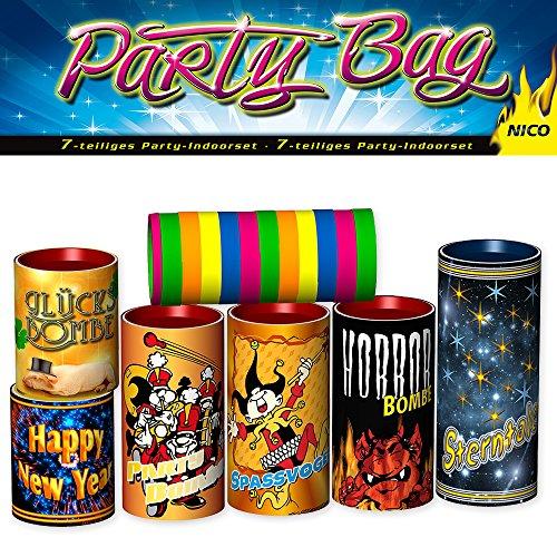 Silvester Tischfeuerwerk Set 7-tlg.: Tischbomben und Luftschlangen - Partyknaller Feuerwerk Party Bag