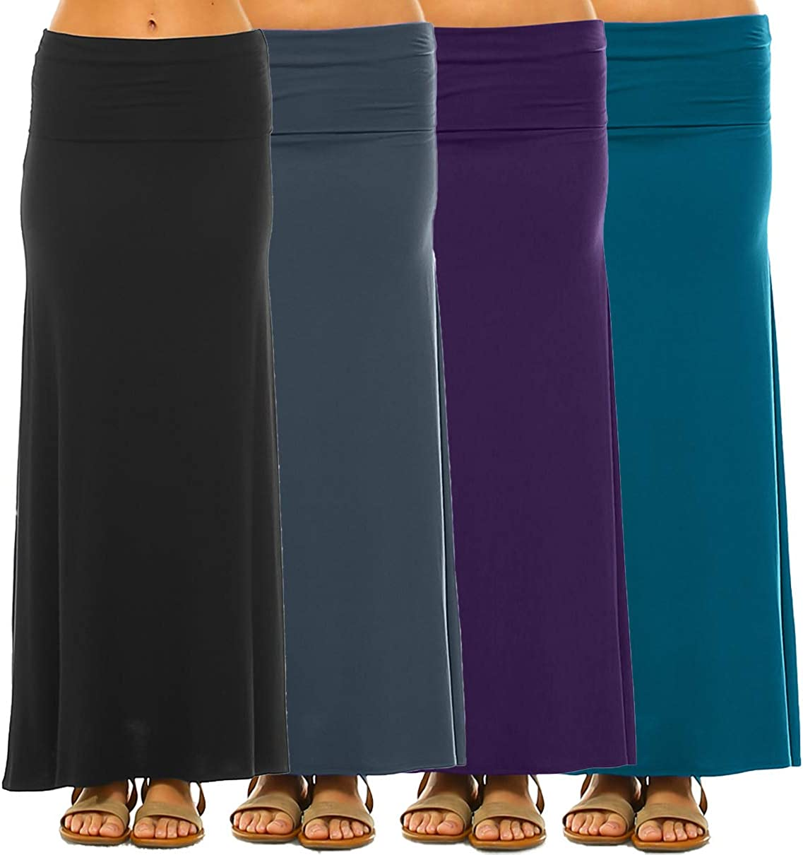 Made in The USA Isaac Liev Womens 4-Pack Trendy Rayon Span Fold Over Maxi Skirt