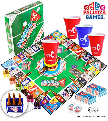 DRINK-A-PALOOZA Board Games: Party Drinking Games for Adults - Game Night Party Games | Fun Adult Beer Games Gift with Beer Pong + Flip Cup + Kings Cup...