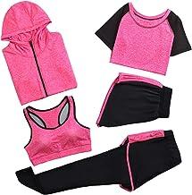 GYUANLAI Dames 5-delig Yoga Pak, Sportpakken Sportkleding Set Atletische Trainingspakken Sportkleding Fitness Hardlopen Jo...