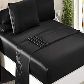 Niagara Sleep Solution Queen Bed Sheet Set 4 Pieces Black Silky Smooth Bridal Satin Deep Pocket Fitted, Flat, 2 Pillow Cases Wrinkle Stain, Fade Resistant (Black, Sheet Set)