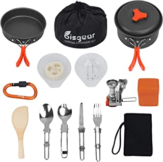 Bisgear 16 Pcs Camping Cookware Stove Carabiner Folding Spork Set Outdoor Camping Hiking Backpacking Non-Stick Cooking Pic...