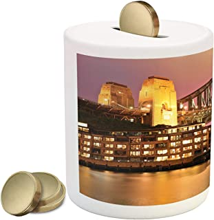 Lunarable Australia Piggy Bank, Australian City Photography with Harbour Bridge and Colorful Sky at Night, Printed Ceramic Coin Bank Money Box for Cash Saving, Multicolor