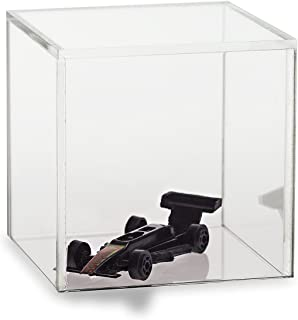 Source One Premium Clear Acrylic Display Case, Available with Additional Base (5 Inch Cube, No Base)
