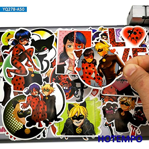 BLOUR 50 Piezas Cute Anime Ladybug Girl Cat Noir Stickers Juguetes para niños Scrapbook Stationery Teléfono móvil Laptop Pad Cartoon Decal Sticker