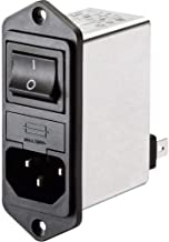 IEC Inlet Filter Switch & Dual Fuse 250VAC; 4A; Flange Mounting Top/Bottom