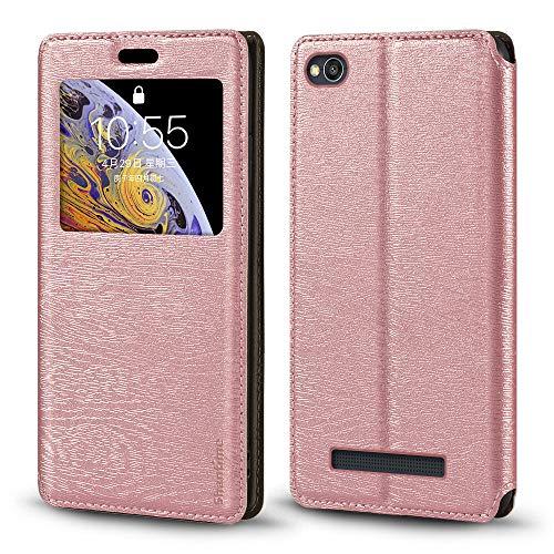 Xiaomi Redmi 4A Caso, Madera Grain Cuero Funda con Titular de Tarjeta y Ventana, Tapa Magnética Flip Cover Para Xiaomi Redmi 4A (Oro Rosa)