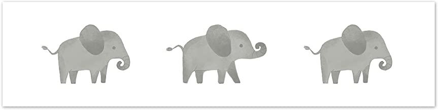 Sweet Jojo Designs Grey and White Wallpaper Wall Border for Blush Pink Watercolor Elephant Safari Collection
