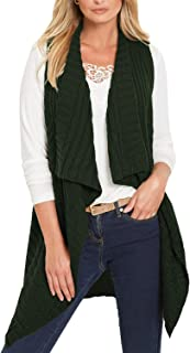 Pink Queen Women's Sleeveless Open Front Cardigan Vest Pockets Top