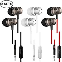 3 Packs Earbud Headphones with Remote & Microphone, SourceTon In Ear Earphone Stereo Sound Noise...