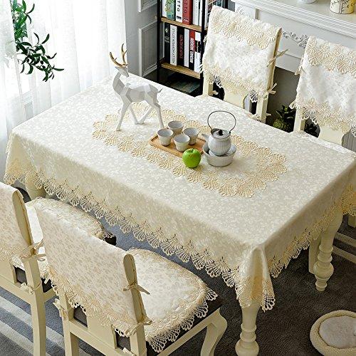 Creek Ywh Inicio tafelkleed stoelkussen set stoelhoezen tafelloper van stof, eenvoudige en moderne kant, model 1933, rond tafelkleed 180 cm