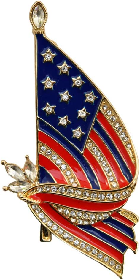PRETYZOOM USA National Flag Brooch Pin Br Rhinestone Limited time cheap Gorgeous sale Lapel Alloy
