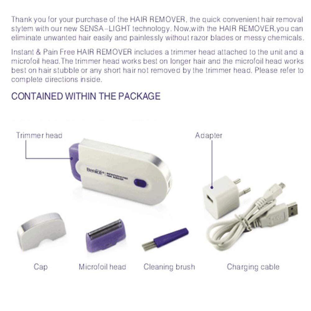 Nwgcb Depiladora Permanente IPL (luz pulsada Fuerte),afeitadora USB multifunción portátil,Recorte rápido Elimina de ...