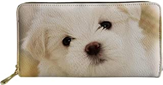 Adorable Dog Cat Pattern Long Wallet for Women Pu Leather Purse
