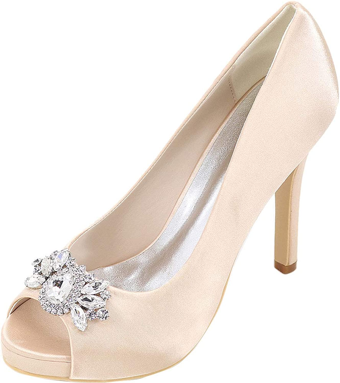 Womens Slip On Rhinstone Heeled Dress Pump Bride Bridesmaid Court Prom 6041-02B Champagne US Size6.5