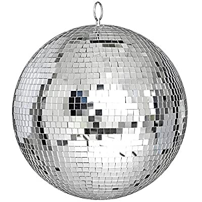 """ReaseJoy 300mm(12"""") Party Disco Mirror Ball Lightweight Glass Lighting Effect Silver"""