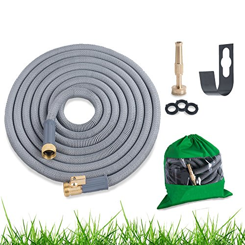 GARDEN FLOW Expandable Hose New 2017 Model, Solid Brass On/Off Valve Connectors Bundle, Includes Free Wall Mount, Brass Nozzle, Storage Bag and Washers, 25' Expanding Garden Hose Car Wash