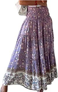 Women Boho Floral Print Elastic High Waist Pleated Ruffles Swing Long Skirt