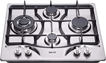 Deli-Kit DK245-A02 24 inch LPG//NG gas cooktop gas hob stovetop 4 Burners Dual Fuel 4 Sealed Burners Stainless Steel gas cooktop 4 burners Built-In gas hob 110V AC pulse ignition gas stove