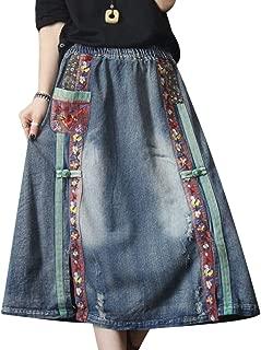 E07 Women Girl Denim Skirts Lagenlook Handcraft Embroidery Elastic Waist Drawstring