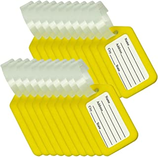 BlueCosto Luggage Tags Suitcase Tag Bag Labels Travel Accessories - Yellow,20 Pack