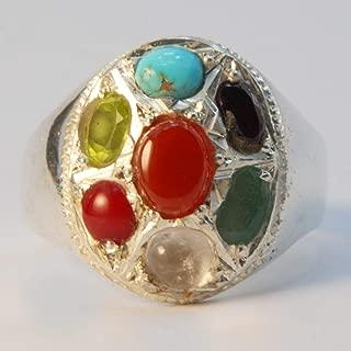 Multi Stone Handmade Persian Ring | AlAliGems | Coral Emerald Ruby Peridot Agate Quartz Turquoise | Silver 925 | US SIZE 11