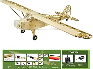 S23 Balsa Wood Plane Kit J3, 30'' Laser Cut RC Wooden Airplane Model Kits to Build for Adults, Electric 4CH Remote Control RC Aeroplane Kit+Motor+ESC+Servo+Covering Film+TX/RX601 (Left hand throttle)