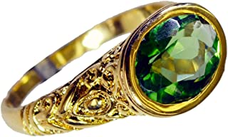 Jewelryonclick Oval Indian Emerald CZ Gold Plated Ring for Women Size 4,5,7,8,9,10,11,12