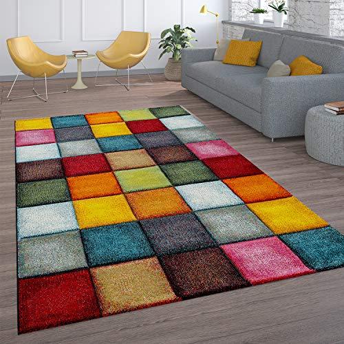 Paco Home Kurzflor Wohnzimmer Teppich Bunt Karo Design Vierecke Mehrfarbig Farbenfroh, Grösse:200x290 cm