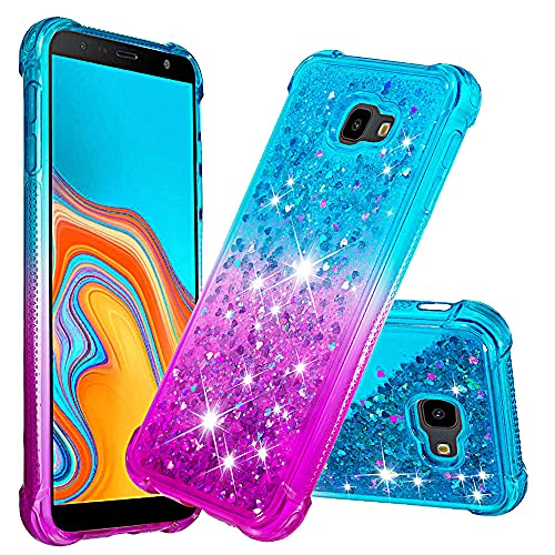 GLORYSHOP Capa para Galaxy J4 Plus, capa de cristal líquido gradiente série areia movediça fina com proteção de TPU (poliuretano termoplástico), capa amortecedora brilhante compatível com Samsung Galaxy J4+/J4 Prime, azul e roxo