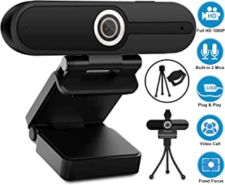Webcam with Microphone, YQE Web Camera Full HD 1080P Webcam with Cover and Tripod, Laptop Desktop Computer Camera for Video Calling Streaming Gaming Online Teaching Zoom Meeting YouTube Skype Hangouts
