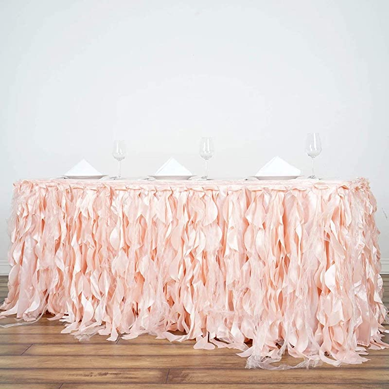 Tableclothsfactory 14ft Enchanting Curly Willow Taffeta Table Skirt For Kitchen Dining Catering Wedding Birthday Party Events Blush