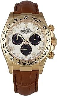 Rolex Daytona Yellow Gold Watch Ivory Dial Black Leather Strap 116518 Box/Pap Unworn 2016