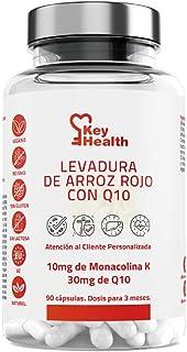 KeyHealth | Levadura de Arroz Rojo con Coencima Q10 | Para 3 Meses | Con Alcachofa y Vegetales Añadidos Ayuda a Reducir el Colesterol 90 cápsulas de 550 mg