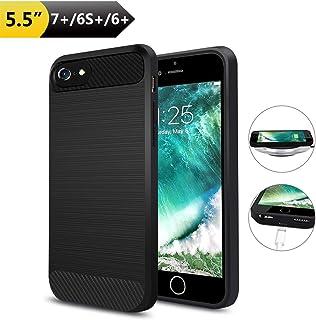 Qi Receptor Funda Receptor Carga Inalámbrico iPhone 7 Plus/ 6 Plus/ 6s Plus Ultrafino a Prueba de Golpes Antideslizante Pu...