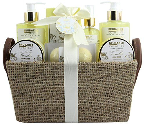 BRUBAKER Cosmetics set beauty da bagno e doccia 'Vaniglia, rose e menta' - set regalo in 9 pezzi presentati in un cestino con ansa ai lati