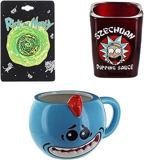 Rick and Morty Portal Pin, Mr. Meeseeks Molded Mug & Szechuan Dipping Sauce Shot Glass Bundle
