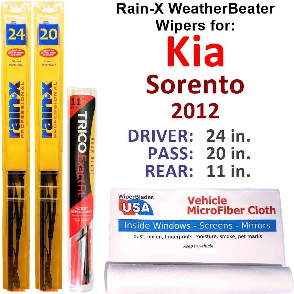 人気上昇中 ストアー Rain-X WeatherBeater Wipers for 2012 Kia Rain w Sorento Set Rear