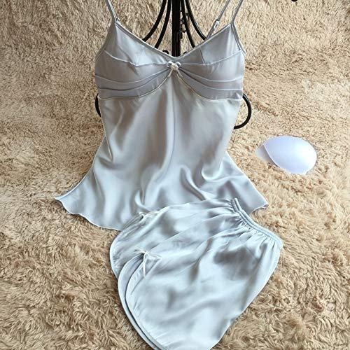 Pijamas Mujer,Camisole Shorts Pijamas 2 Pcs Espaguetis Correa Mujer Pijama Con Electrodo Precordial Sexy Moda Azul Plata Ropa De Cama Suelta Y Suave Pijama Plus Size Establece,Imagen,L