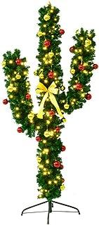 Jabbka Holdings 6Ft Pre-Lit Cactus Artificial Christmas Tree w/Ball Ornaments & LED Lights Decoration