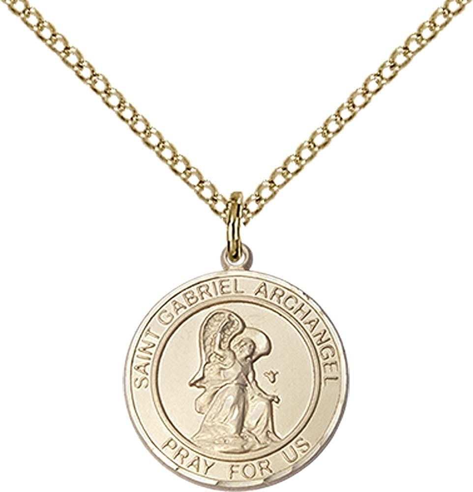 F A Dumont 14kt Gold Filled St. Gabriel The Archangel Pendant with 18